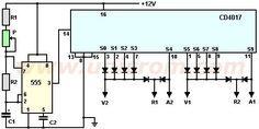 Semáforo electrónico con 555 y 4017 - Este circuito logra el funcionamiento de un semáforo típico, utilizando dos circuitos integrados. Los integrados son el conocido temporizador 555 y el contador de décadas CD4017