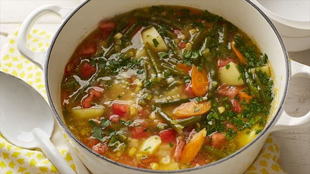 Get this all-star, easy-to-follow Garden Vegetable Soup recipe from Alton Brown