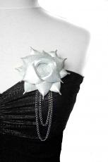 Mila leather brooch with chains, Design by Emmi Sulin