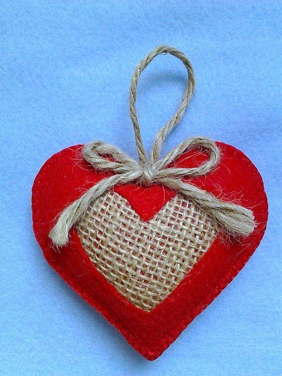 Handmade felt and burlap hearts set of 2