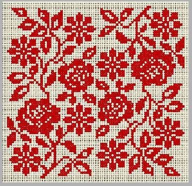 roses monochrome --- a single 'half' (vertically), when repeated along a length, can make a beautiful broad cross-stitch border !