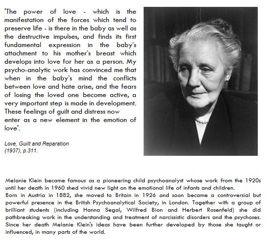 an overview of the works of melanie klein Description : melanie klein (1882-1960) was a pioneer of child analysis whose work with children enabled her to gain insight on the deepest states of the mind and thus to make a fundamental contribution to psychoan.