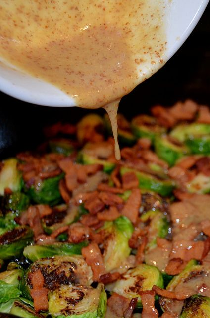 Brussels Sprouts with Bacon and Mustard Dressing by Necessary Indulgences.