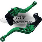 Short Green CNC Alloy Adjustable GP Brake & Clutch Levers Honda CBR1000 RR 08-15