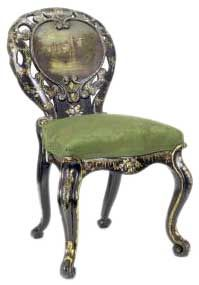 Victorian Paper Mache Chair, 1850. In the middle 1800s European Theodore Jennens created and patented a method of steaming and pressing laminated sheets of paper (papier-mache) into various shapes. This allowed them to be used for such things as chair backs and structural panels. This European industry lasted through the end of the 1800s.