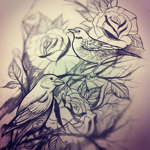 rose and bird tattoo