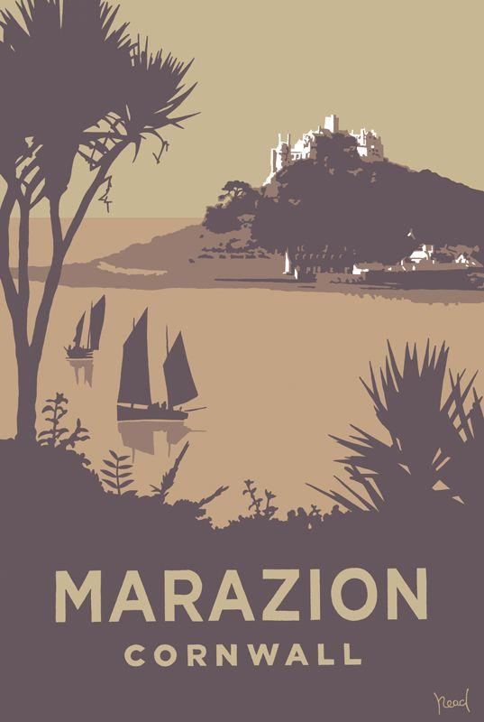 Marazion (SR11) Beach and Coastal Print http://www.thewhistlefish.com/product/marazion-print-by-steve-read-p-sr11 #marazion #penzance #cornwall