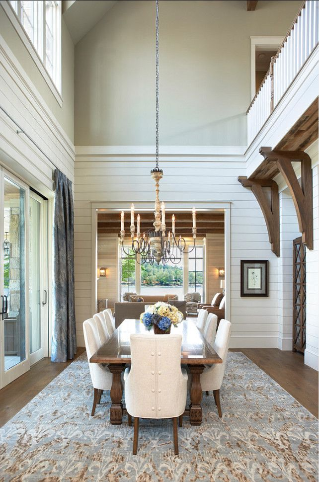 Dining Room Lake House With Transitional Interiors In Keowee South Carolina