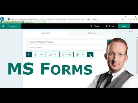 *Microsoft Forms, a New Office 365 App* Peter Kalmström creates a questionnaire form and a quiz online with Microsoft Forms, and then he shares them by link and by embedding in a modern SharePoint page: https://www.kalmstrom.com/Tips/Office-365-Course/Forms.htm