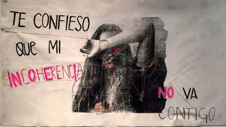 """""""Detente"""" Bordado a mano, serigrafía"""