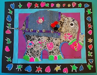 Indian Elephants, I tried this last year with gr 3 and used scrap book paper for a blanket...awesome results.