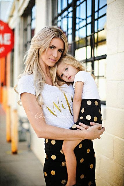 Mommy and Me Matching Printed Mother and Daughter T-Shirt with Black and Gold Dotted Skirt