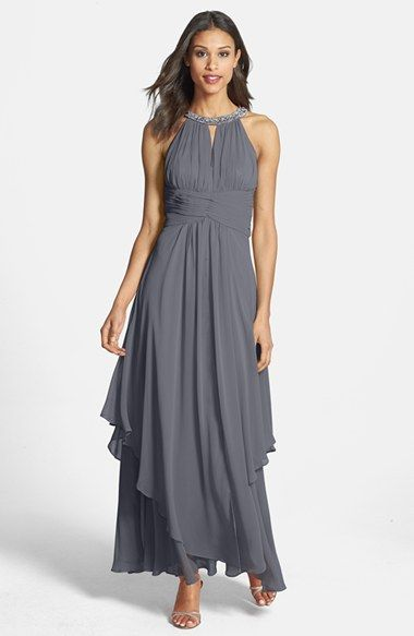 Eliza J Embellished Tiered Chiffon Halter Gown | Nordstrom $238, Available in several shades including some pinks