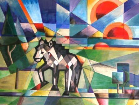 Dit schilderij hoort bij het kubisme. Dit komt door de hoekige vormen. Het is duidelijk dat het paard centraal staat in dit schilderij. De bovenkant van het schilderij suggereert de lucht en de onderkant een wei. Allerlei tinten zijn door elkaar gebruikt maar er worden wel dezelfde kleuren gebruikt. De tinten sluiten ook niet op elkaar aan. Dit is ook iets dat kubisten altijd doen.
