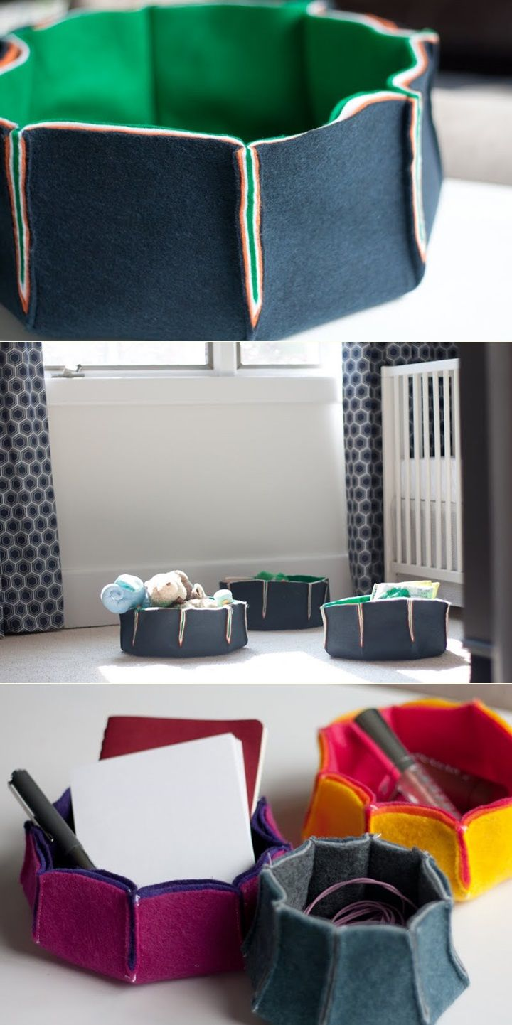 DIY felt storage bowls