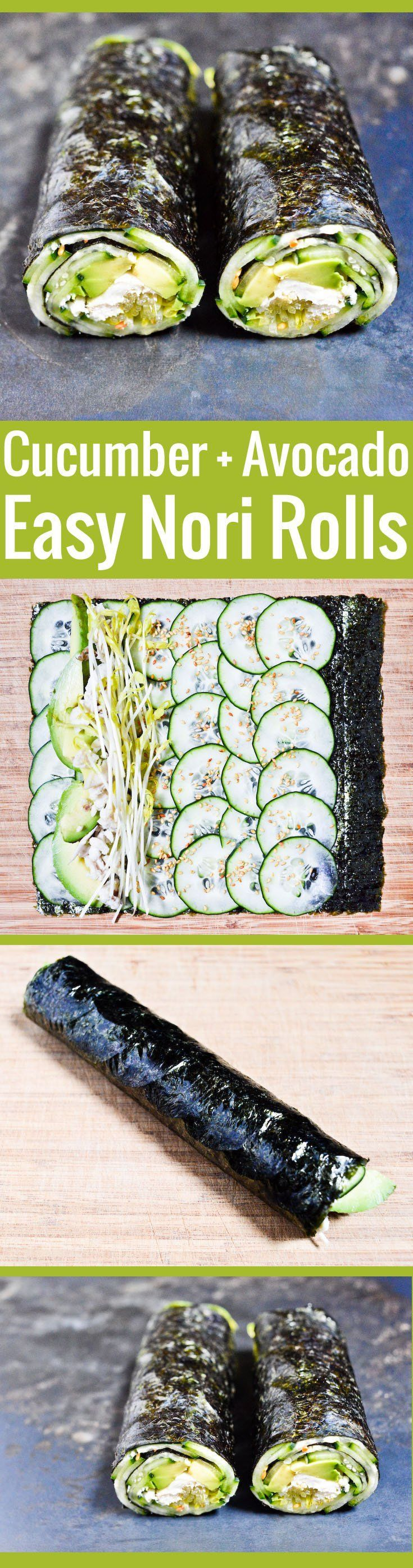 Maki-style nori roll, super easy to assemble, and a great home for all kinds of ingredients. The perfect quick grain-free lunch! by chocolateandzucchini #Nori_Roll #Cucumber #Avocado  * chicken can be a substitute for tofu, if your anti-soy and not vegan