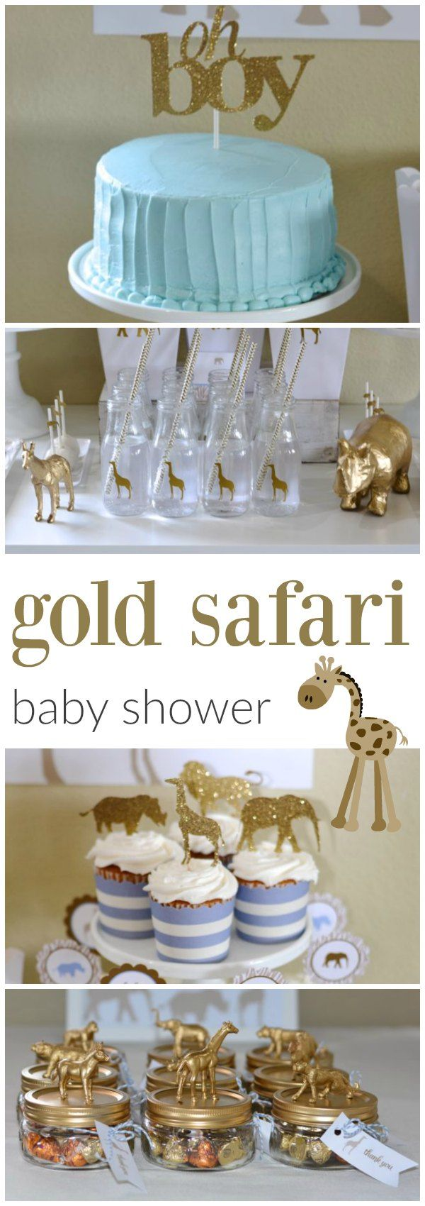 Such a sophisticated safari baby shower #gold