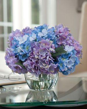 Hydrangea Centerpieces | Lavender & Blue Silk Hydrangea Artificial Bouquets & Centerpieces