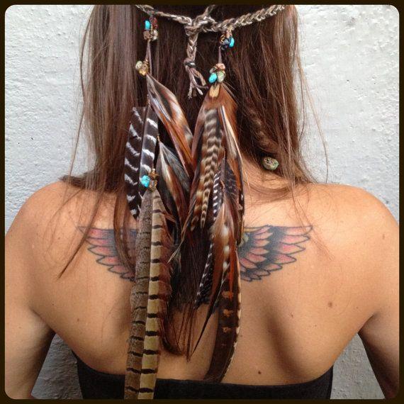 Bandeau/bandeau / / plumes, pierres précieuses, tribal, d'inspiration amérindienne, Bohème, hippie, boho, mariage, cuir, turquoise, quartz