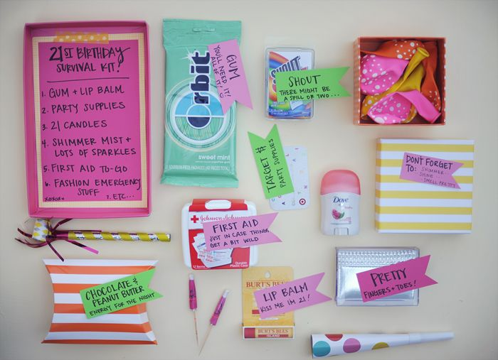 40th Birthday Presents For Her >> 21st birthday post survival kit! | Encouraging Gifties ...