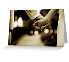 Bride and groom holding hands sepia toned black and white silver gelatin 35mm film analog wedding photograph Greeting Card
