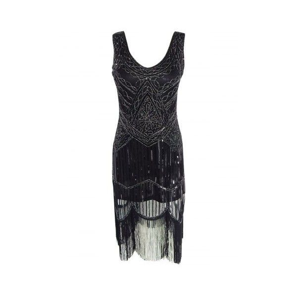 Vintage Beaded Fringed Sequin Flapper Dress ($34) ❤ liked on Polyvore featuring dresses, white dresses, white flapper dress, vintage style flapper dresses, gatsby dress and vintage beaded cocktail dress