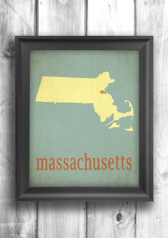 Massachusetts Map Art Print State Sign Typography Poster by Mapity, $30.00