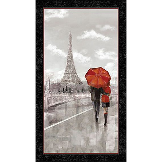 Paris tela Panel paraguas rojo Torre Eiffel por FeatheredNest97030