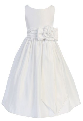 Girls Sweet Kids New Satin Flower Girl Dress with Rose Waist Accent:Sale: $52.99