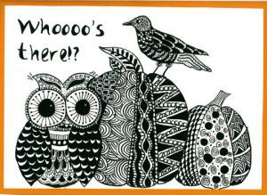 Pumpkin owl zentangle art card. Zana's Cards measure 7.2″ x 5.2″, or 18cm x 13cm.They also include an envelope for you to use to send your cards. #halloweenzentangle #pumpkinzentangle #owlzentangle #crowzentangle #pumpkindrawing #owldrawing #crowdrawing #zentanglecard #zentangleart #zanascards www.zanascards.com