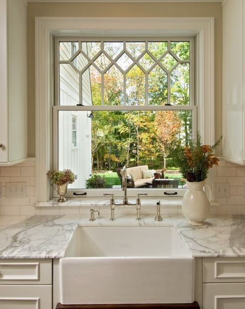 Gorgeous kitchen window, marble counter, faucets and sink..... and a great view to boot! Perfect :): Kitchens, Ideas, Kitchen Sink, Kitchen Windows, Traditional Kitchen, Kitchen Design, Farmhouse Sink