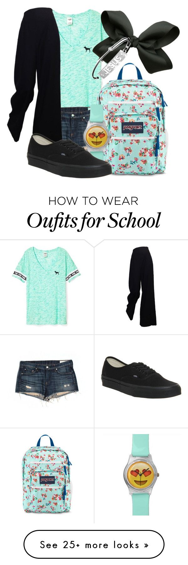 """""""First Day Back At School"""" by curlyhead03 on Polyvore featuring Victoria's Secret, rag & bone/JEAN, JanSport, The Row and Vans"""
