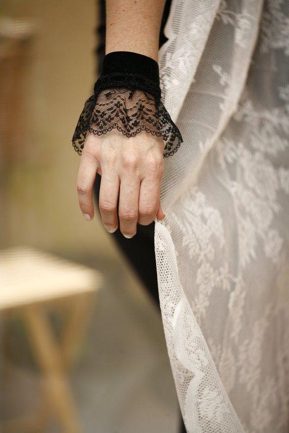 Lace Cuff Bracelet Fabric Jewelry  Black velvet by ShablulitShop, $18.00