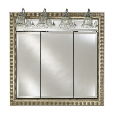 Afina Signature Traditional Lighted Triple Door 34W x 34H in. Recessed Medicine Cabinet - TD/LT3434RCOLBL SN