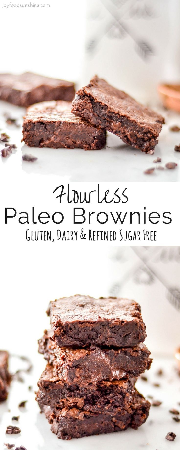 """These super fudgy Flourless Paleo Brownies taste better than their """"normal"""" brownie counterparts and are totally allergy friendly! Gluten-free, dairy-free, nut-free with no refined sugar! The perfect dessert to serve a crowd!"""