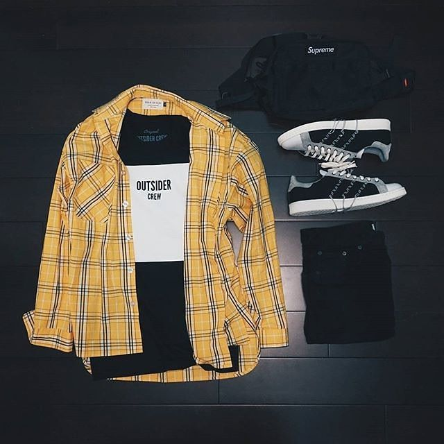 Outfit Grid, featuring our Outsider Crew tee, Adidas kicks, Fear of God All Over Yellow , Zara Jeans