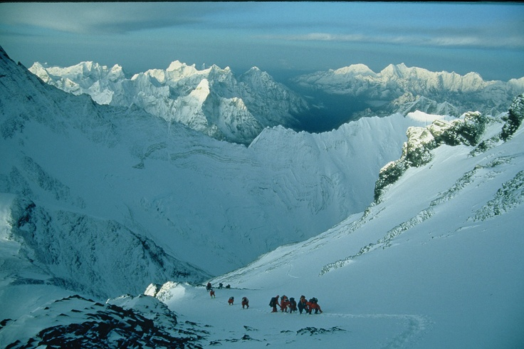 Approaching the Balcony, SE Ridge Mt Everest. Photo Guy Cotter  guycotter.com