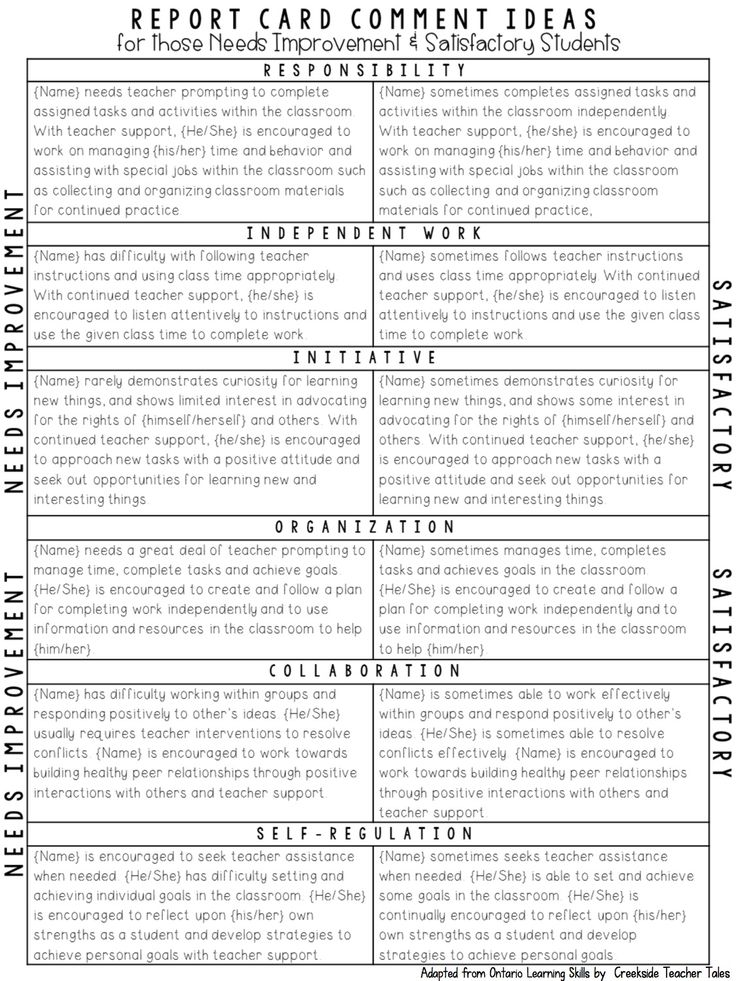 report card comment ideas (needs improvement and satisfactory examples)