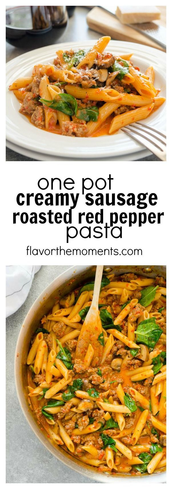 One Pot Creamy Sausage Roasted Red Pepper Pasta is ultra creamy and bursting with flavor!  This recipe comes together in 30 minutes and is perfect for busy weeknights and entertaining! #ad #talkofthetable Msg 4 21+ @BarillaUS @ClosduBois