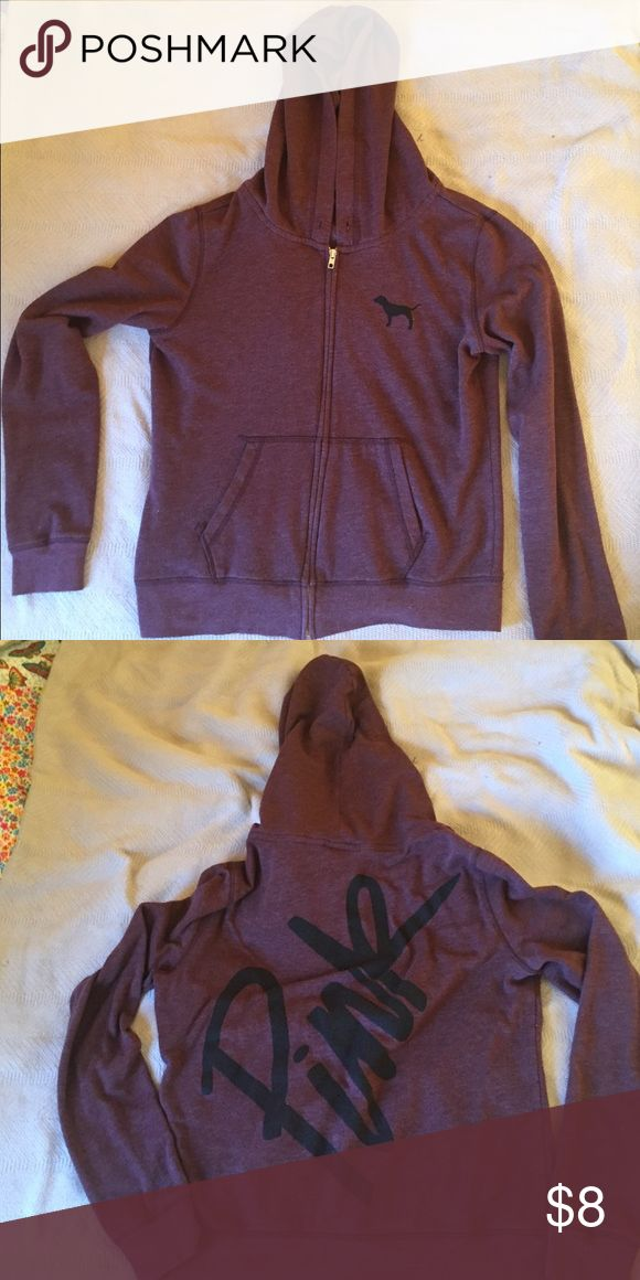 PINK zip up sweatshirt Dark purple zip up hoodie, missing draw string in hood PINK Victoria's Secret Tops Sweatshirts & Hoodies