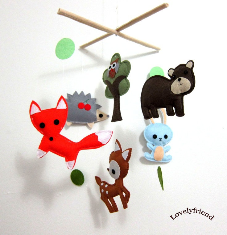 "Baby Crib Mobile - Baby Mobile - Mobile - Crib mobiles - Felt Mobile - Nursery mobile - "" Brown bear and deer"" design. $78.00, via Etsy."