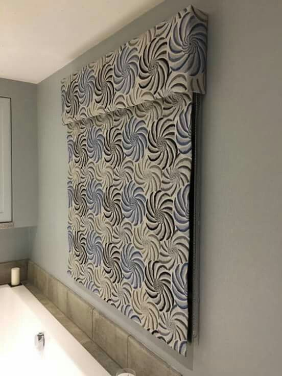 Blue And Grey Embroidered Linen Roman Blind With A Pattern