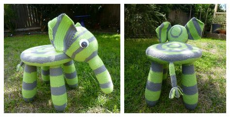 This Crochet Elephant Ikea Stool Cover Free Pattern is such a creative idea how to turn a stool into a cute elephant. Kids will definitely like it.