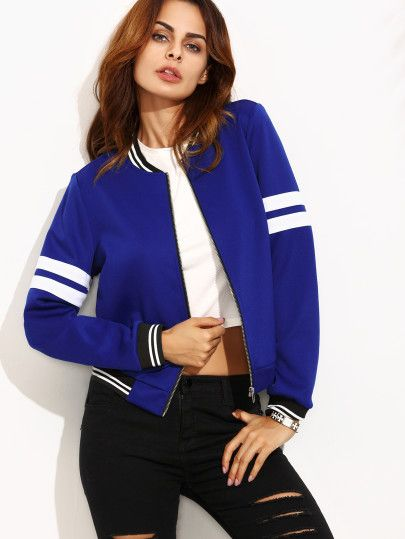 Shop Royal Blue Contrast Trim Long Sleeve Baseball Jacket online. SheIn offers Royal Blue Contrast Trim Long Sleeve Baseball Jacket & more to fit your fashionable needs.
