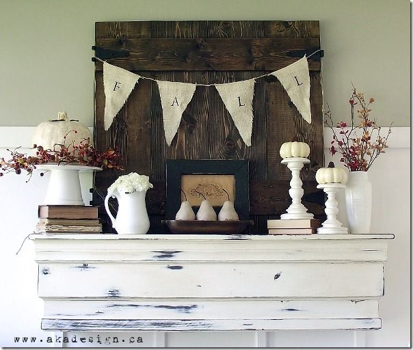 Fall bunting, Thanksgiving Mantel Decor Ideas #thanksgiving #mantel #decor
