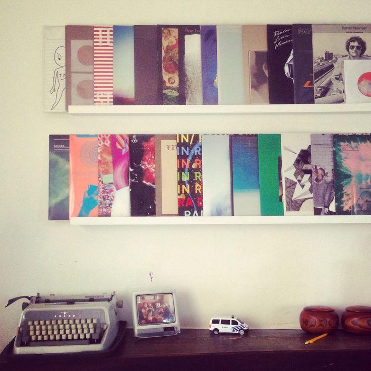 IKEA Ribba vinyl records storage. I love how they can function as interchangeable artwork this way, too.