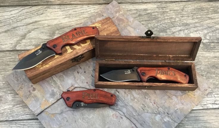 Groomsmen Engraved Knives Gift Idea, Pocket Knife and Gift Box, Spring assisted opening, Best Man Wedding Thank you, Unique present for men by TheUltimateManShop on Etsy https://www.etsy.com/listing/289216447/groomsmen-engraved-knives-gift-idea