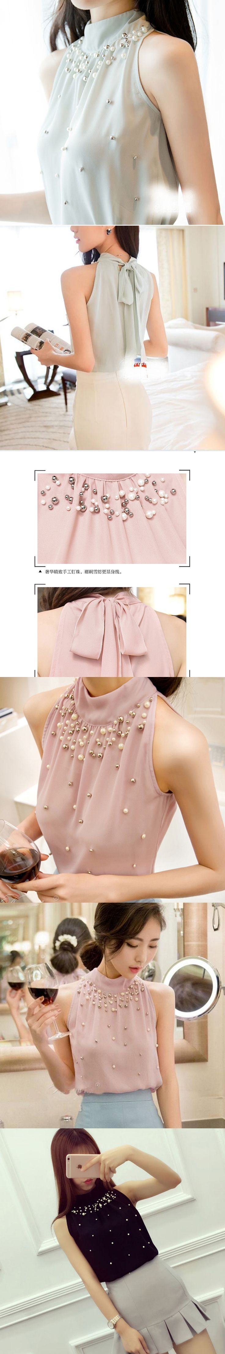 blusas feminina white Beading shirt women blouses 2017 vetement femme plus size 3xl chiffon blouse summer tops camisetas mujer