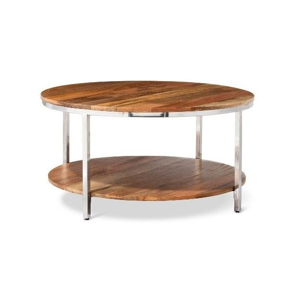 Berwyn Round Coffee Table Metal and Wood ($162) ❤ liked on Polyvore featuring home, furniture, tables, accent tables, round metal table, wooden coffee tables, round accent table, wood accent table and round metal coffee table