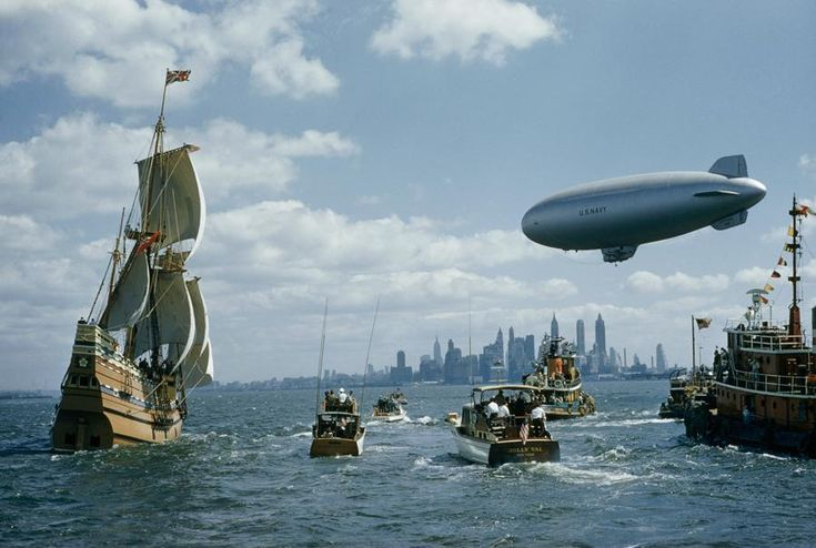 A replica of the Mayflower sails into New York Harbor in 1957